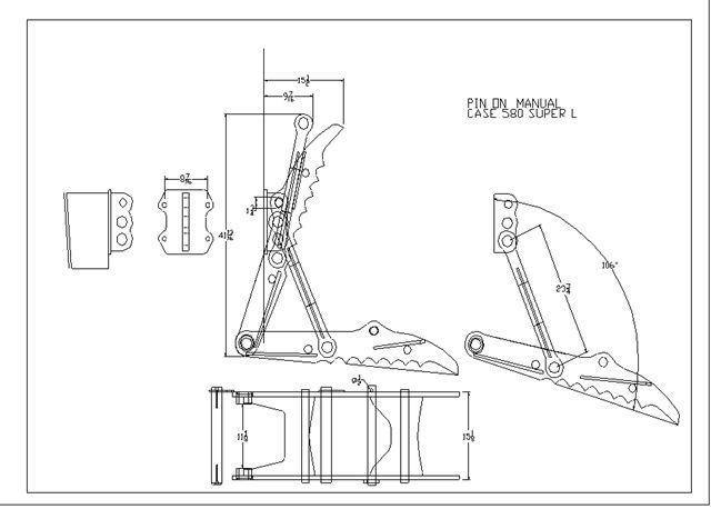 backhoe thumb  15 u0026quot x42 u0026quot  no weld pin on case 580 k  l  m new